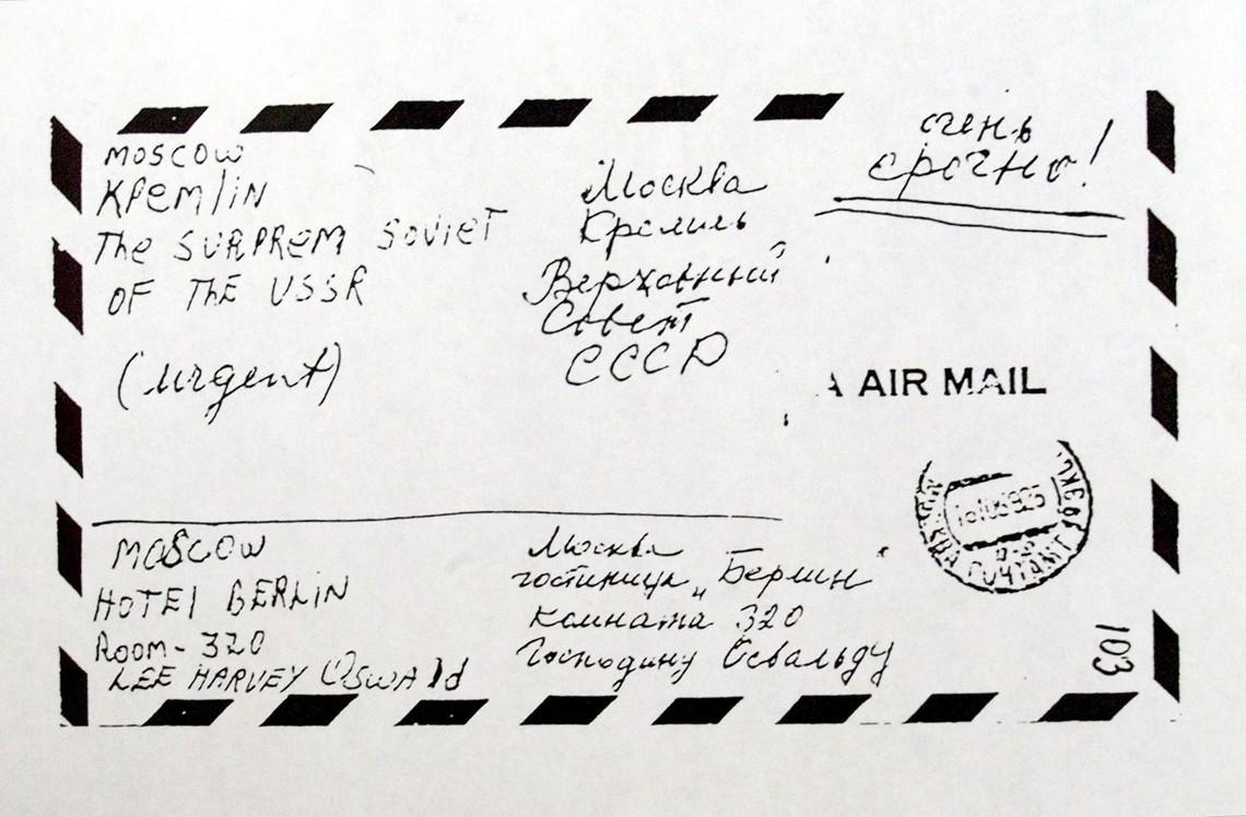 Копия конверта с письмом Освальда в Верховный Совет с просьбой о политическом убежище в СССР